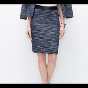NWOT Ann Taylor Navy Tweed Skirt with Faux Leather